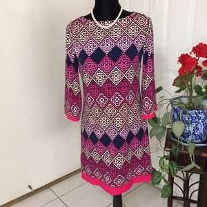 Eliza J Diamond Print Jersey Shift Dress Size 4